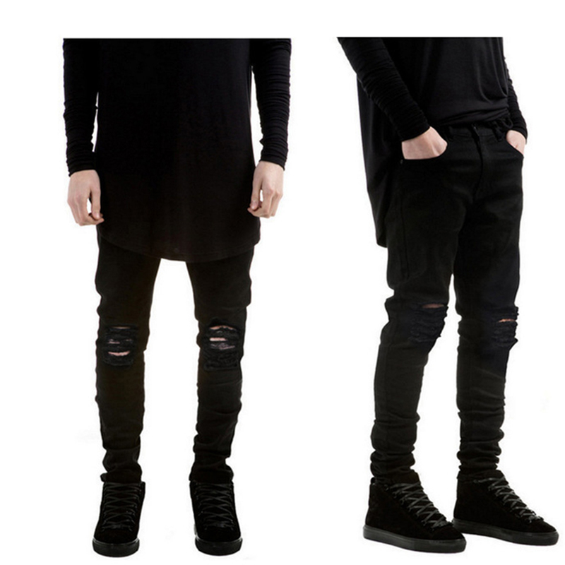 2018 New Black Ripped Jeans Men With Holes Super Skinny Famous Designer Brand Slim Fit Destroyed Torn Jean Pants For Male
