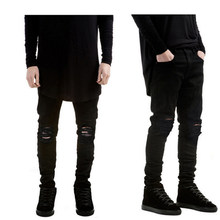 4c5ed5a71a2 Black Ripped Jeans Men With Holes Super Skinny Famous Designer Brand  trousers 2018 Slim Fit Destroyed Torn Jean Pants For Male