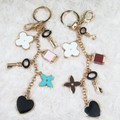 FREE SHIPPING Quality Brand KeyLock Heart Clover Car Keychain Bag Hanger Keyring for Women Female Novelty Gifts Wholesale Retail