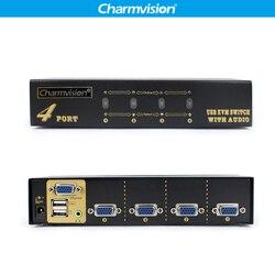 Charmvision VK401A 4 in 1 Desktop Automaticamente 4 Messaggi KVM Switcher Audio Tasto di Scelta Rapida con HDDB VGA 2 USB Della Tastiera Del Mouse interruttori
