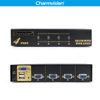 Charmvision VK401A 4 into 1 Desktop Automatically 4 Posts KVM Audio Switcher Hotkey with HDDB VGA 2 USB Keyboard Mouse Switches