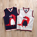Boys Children Kids Dino Sweaters Clothing Cotton Knitted Jacquard Dinosaur Cartoon Sweater Vest