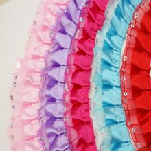 5 Yards 4cm 9 Colors DIY Chiffon Pleated Lace Trim Curtains Bedspreads Pillowcases Clothes Lace Edge Gift Decoration Dolls Skirt(China)