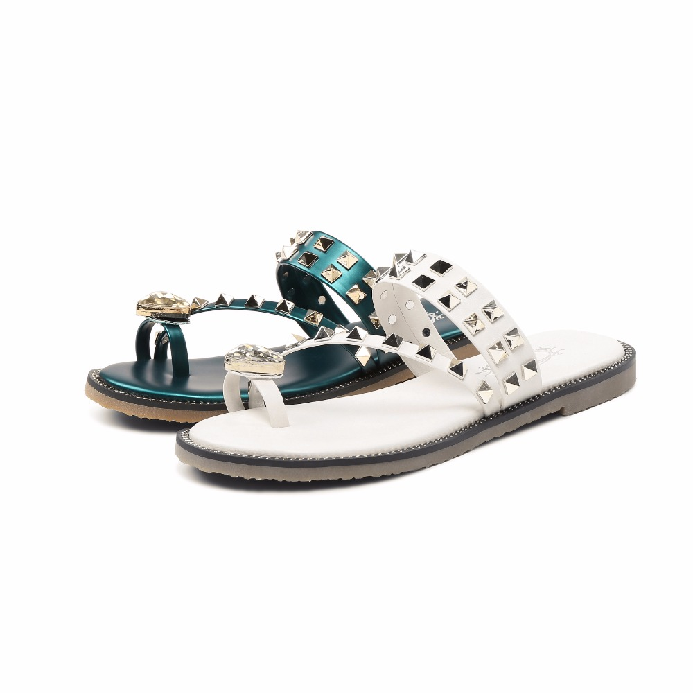 Furtado En Cristal 2018 Rivet Occasionnels Blanc Pantoufles Strass Chaussures Appartements Arden Cuir Mode Femme De Véritable Dames Diapositives Beige green D'été On0wPk