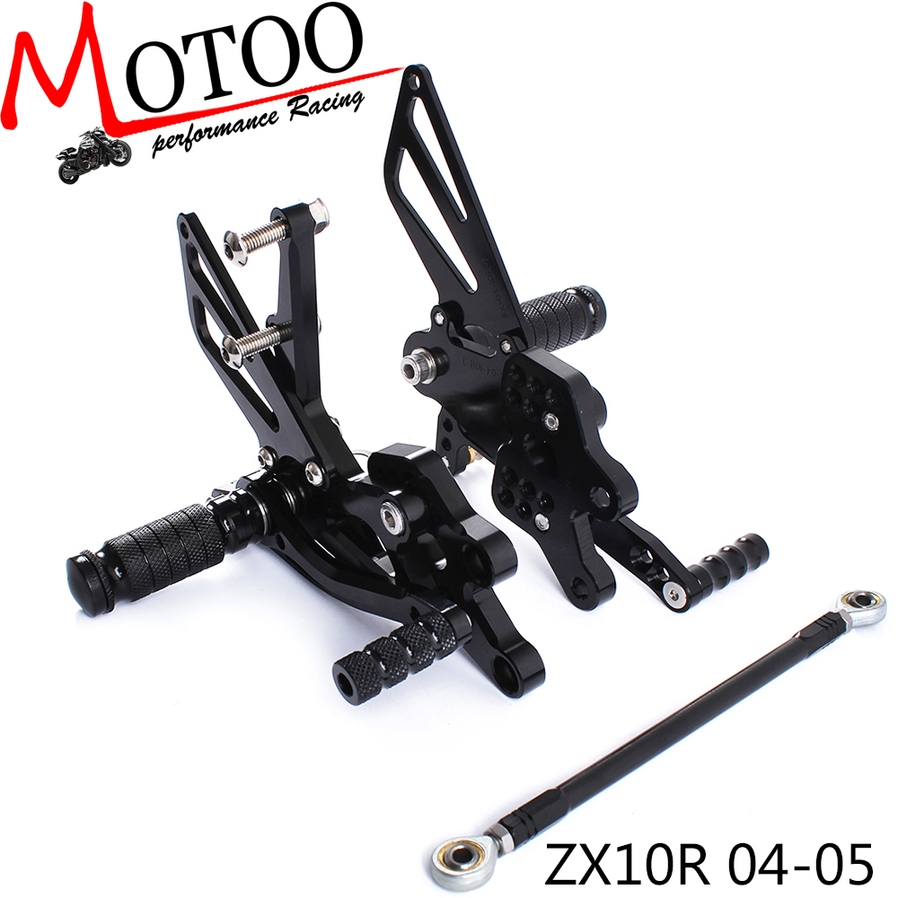 Full CNC Aluminum Motorcycle Adjustable Footrest Footpeg Pedal Rearsets Rear Sets Foot Pegs For KAWASAKI ZX10R ZX-10R 2004-2005