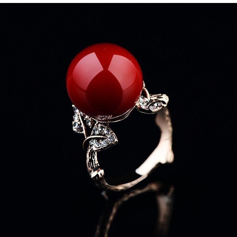 K'S Naprava prirodni umjetni koraljni prsten crveni koraljni prsten - Modni nakit - Foto 5