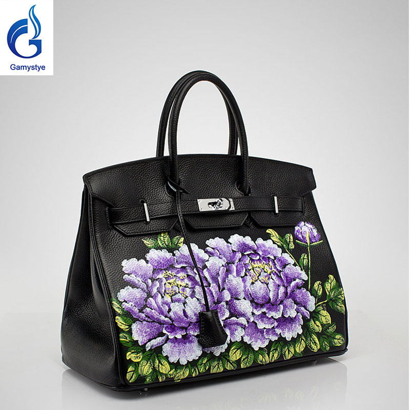 The hotest handbag women luxurious handbag with a beautiful flower Women Messenger Bags Hand Painted Custom name Design totes YG
