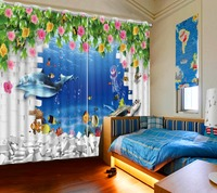 Blackout Shade Window Curtains Brick Wall Dolphin Flowers 3d Curtains For Living Room Window Modern Curtains For Beding Room