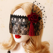 Mask headdress gothic mesh gauze red rose flower black lace princess dance party veil