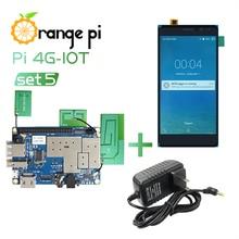 Laranja pi 4g iot set5: laranja pi 4g iot + 5.5 polegada cor preta tft lcd tela de toque + fonte de alimentação; 1g Cortex A53 8gb emmc & bt