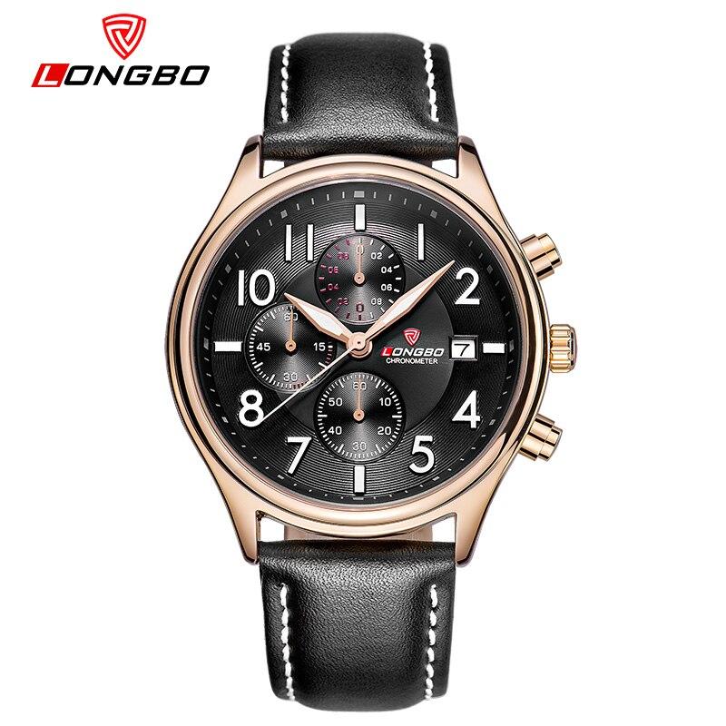 LONGBO 2016 Leather Men Watches Black Sport Watch Digital Date Display 30M Waterproof Erkek Kol Saatleri