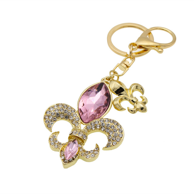 d65f4a66b42 Banhado a ouro Flor de Lis w contas de luz roxa brilhante corrente chave de  cristal