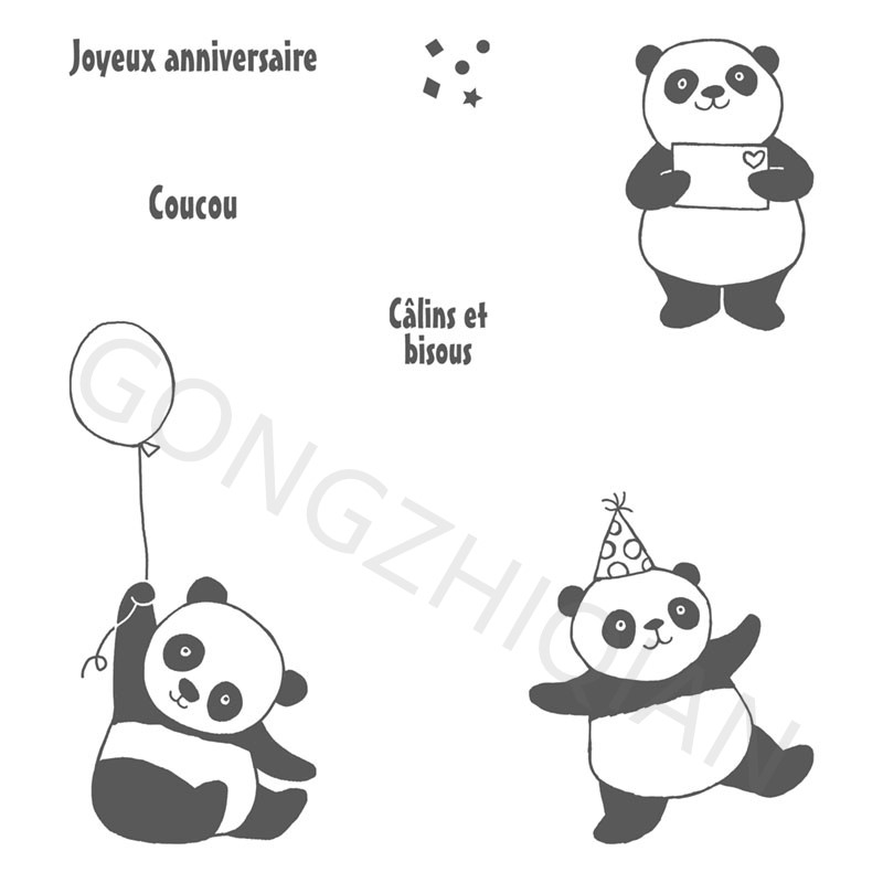 Panda Transparent Clear Silicone Stamp/Seal for DIY scrapbooking/photo album Decorative clear stamp sheets A819