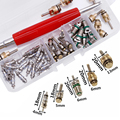 50Pcs A/C Core Valve R12/ R134A Auto Car Air Conditioning Assortment Remover Kit