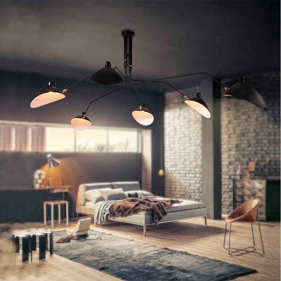 Ретро Serge Mouille подвесные светильники, скандинавский промышленный простой светодиодный регулируемый светильник-паук для гостиной, спальни, промышленная лампа