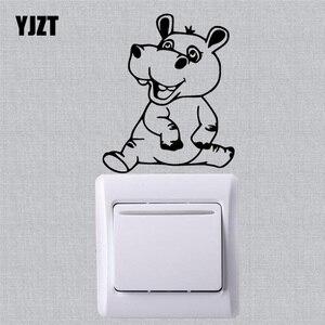 YJZT cantar hipopótamo pegatina de pared par interruptor vinilo calcomanía niños habitación decoración Animal lindo de dibujos animados 17SS-0500