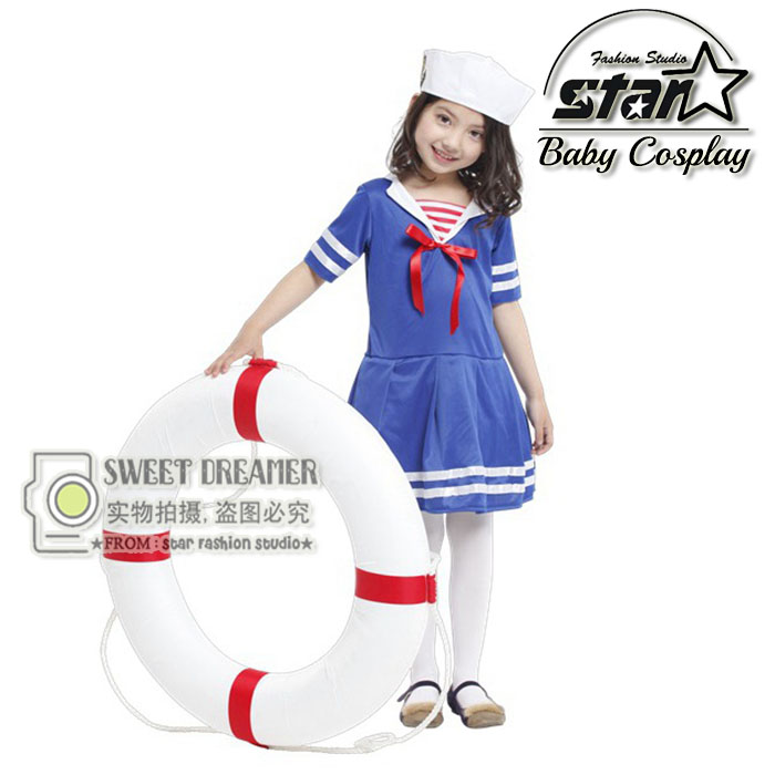 Fantasia Children's Halloween Dress Girls Sailor and Navy Costume Military School Performance Stage Game Uniforms футболка tommy hilfiger denim tommy hilfiger denim to013ewtpb98