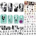 12 Pçs/lote beleza Marilyn Monroe decalques para unhas de transferência de água etiqueta da arte do prego decoração acessórios ferramentas do manicure 8192