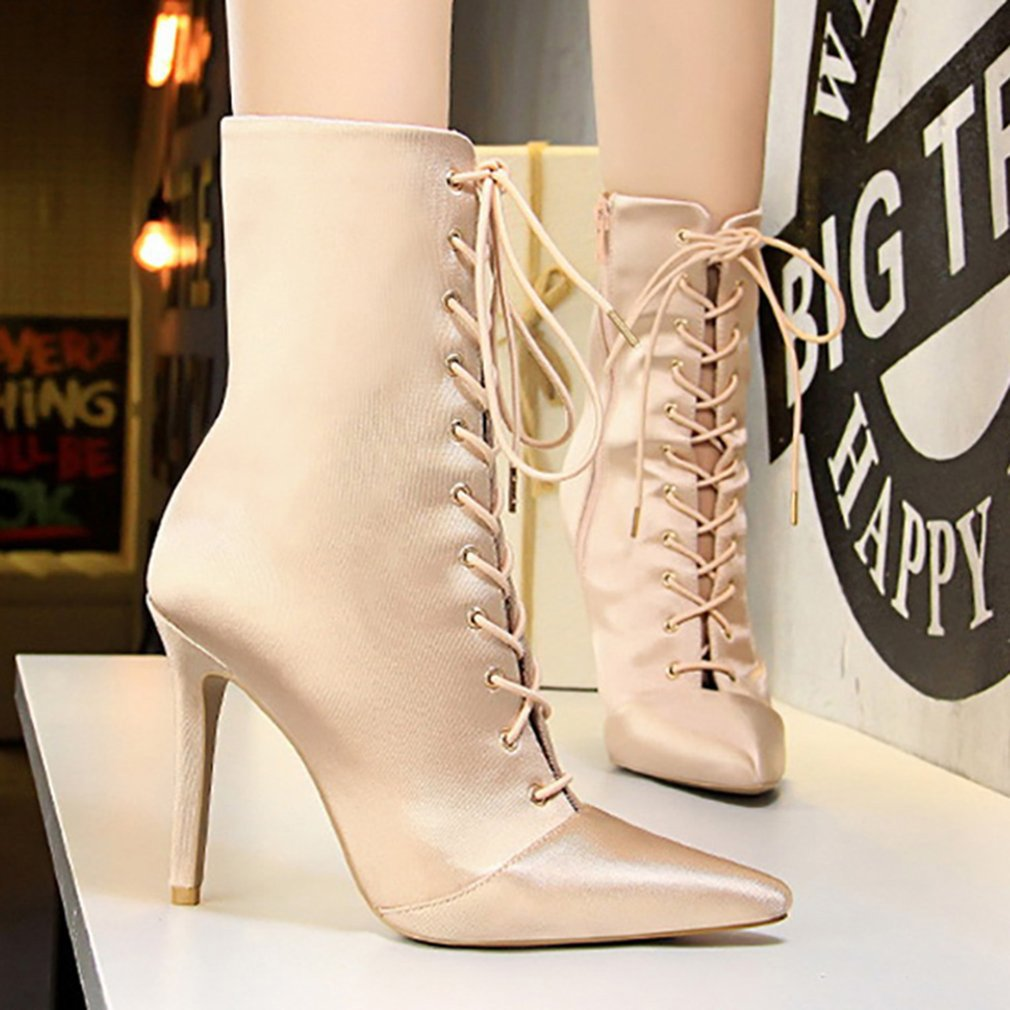 Women Autumn Winter Thin High Heels Lace Up Boots Satin Silk Night Club Shoes lace up flatform satin shoes
