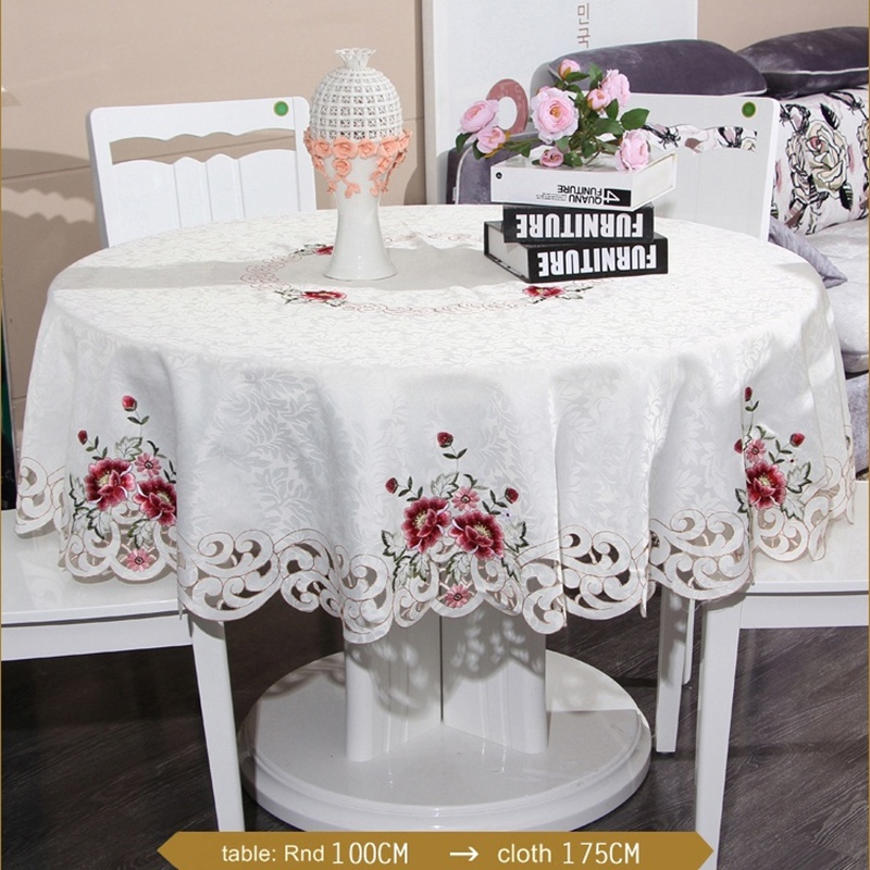 """60/"""" Round Satin Fabric Embroidered Pink Flower Embroidery Tablecloth Napkins"""