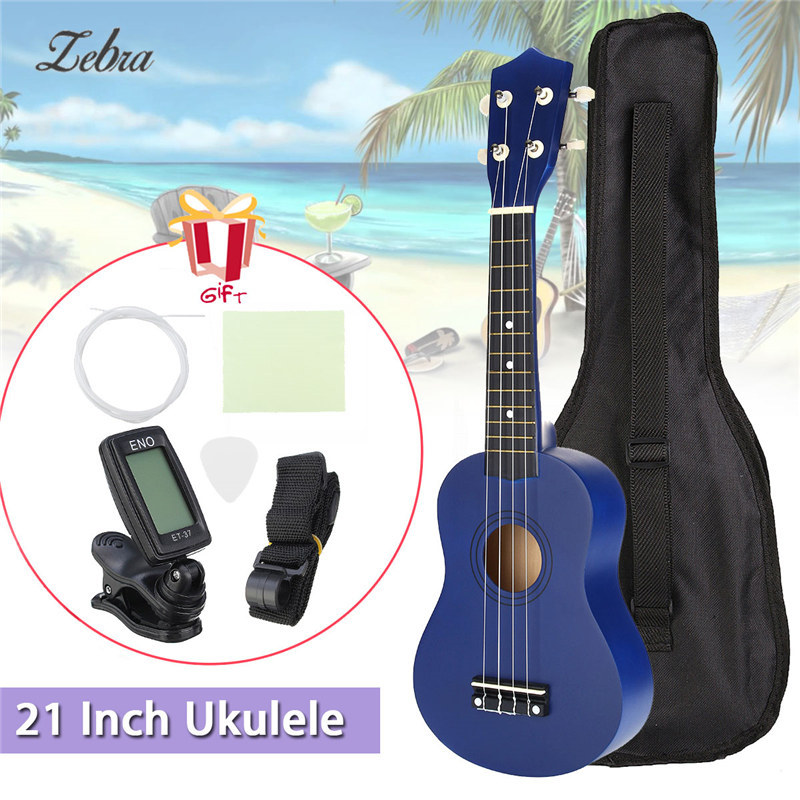 21 inch 12 Frets Soprano Ukulele Guitar Uke Sapele Basswood4 Strings Hawaiian Guitar +Tuner+ Free Bag for Beginners Basic Player soprano ukulele neck for 21 inch ukelele uke hawaii guitar parts luthier diy sapele veneer pack of 5