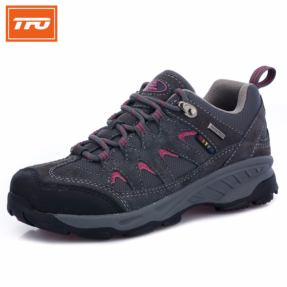 TFO Women Hiking Shoes Leather Outdoor Anti-Skid Mountain Breathable Waterproof Hunting Trekking Sports Sneakers  089W