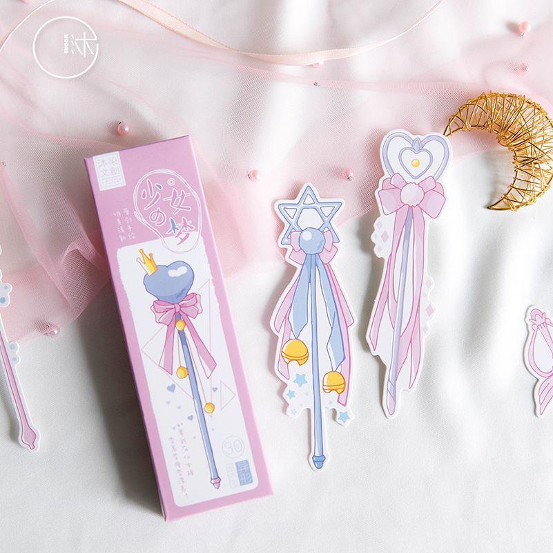 30 Pcs/Set Novelty Girl Magic Wand Paper Bookmark Book Holder Message Card Kawaii Gift Stationery