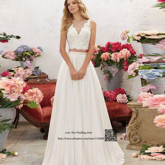 bohemio de dos piezas vestido de novia de encaje una línea de 2