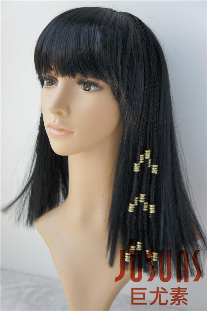 Långa Braid Black Paryk Egypten Cleopatra Parykar Med Smal Bangs - Dockor och tillbehör - Foto 5