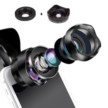2 in 1 Optic Mobile Phone Lens No Distortion Professional 4K HD Super Wide Angle + 15X Macro Lens for iPhone Android Smartphones цены онлайн
