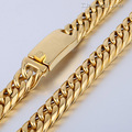 12mm Mens Boys Chain Gold Tone Flat Curb Link 316L Stainless Steel Necklace Wholesale Customized Jewelry Jewellery LHN76