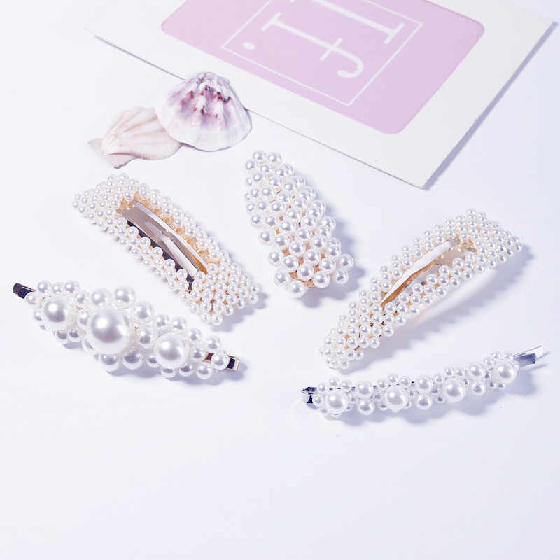 2019 Hot Fashion Super Fairy Homemade Women Pearl Rhinestone Duckbill Clip Net Red Retro Wind Hair Clip Liu Alloy Beauty Parties