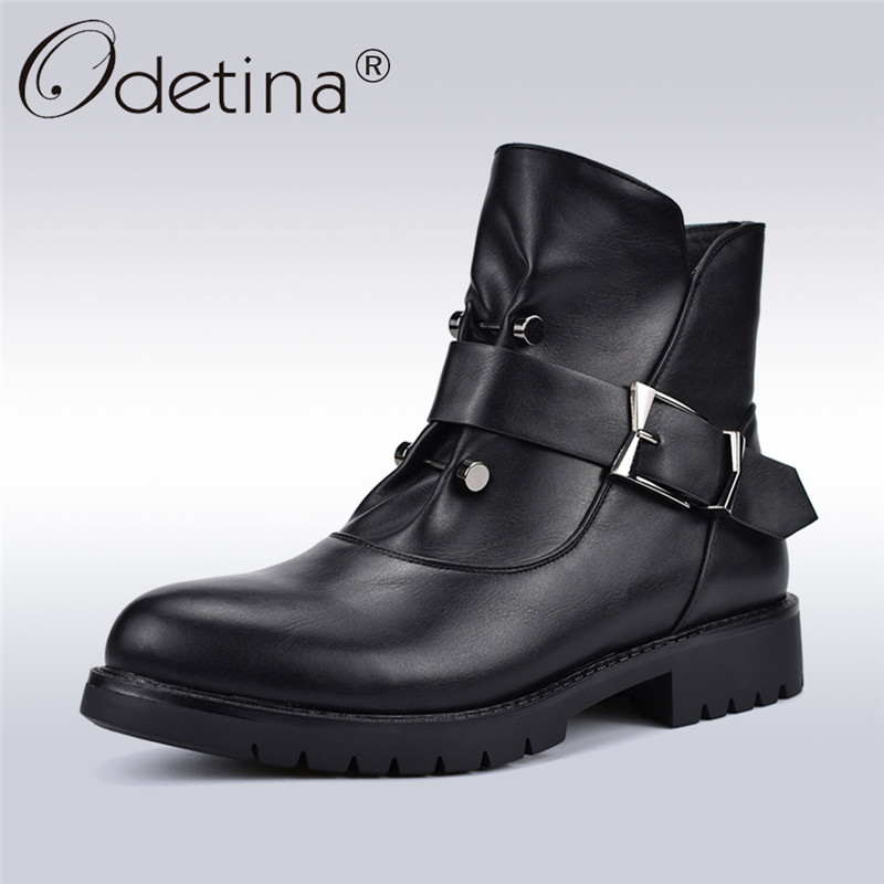 Detail Feedback Questions about Odetina High Quality New Fashion Women Punk  Boots Square Low Heels Side Zip Rivet Buckle Female Ankle Boots Autumn  Winter ... 8666ea0a532a