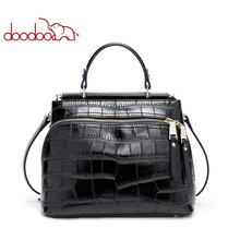 Fashion Women Frame Bag with Mask and Zipper Opening Ladies Black Crocodile pattern Leather Totes New Designe Female Small Bags