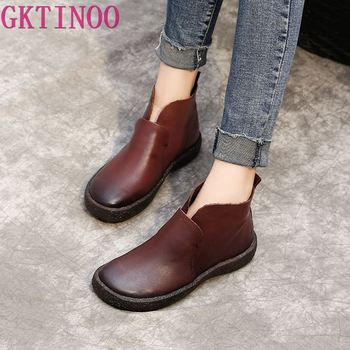 GKTINOO 2019 Fashion Handmade Boots For Women Genuine Leather Ankle Shoes Vintage Women Shoes Round Toes Boots