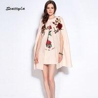 Seamyla High Quality 2017 Designer Runway Dress Women S Fashion Sequined Two Piece Cloak Dress New