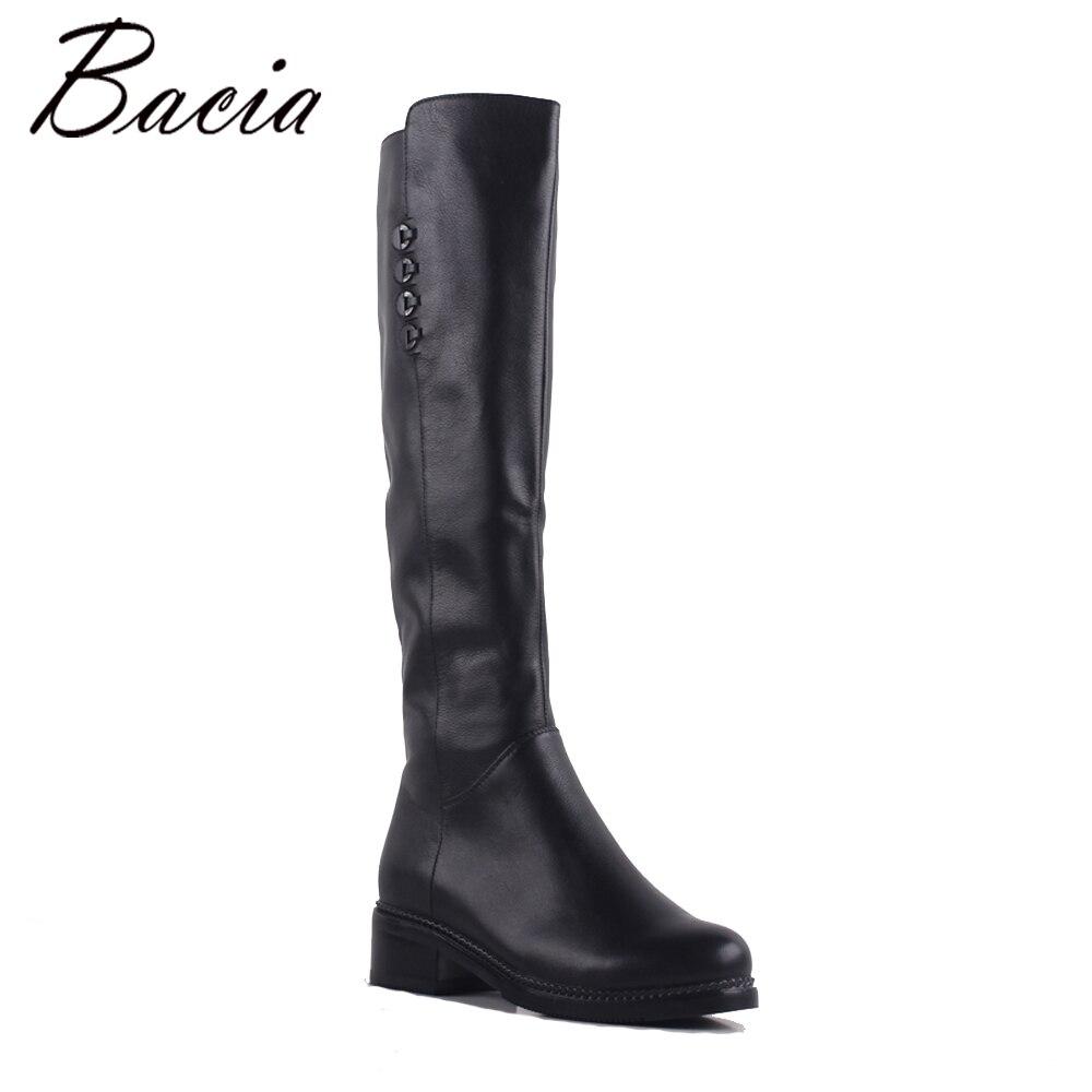 Bacia Bout Carré Haute Bottes En Cuir Véritable Femmes Bottes épaisses bottes à hauts talons Dames Maigre De Mode D'hiver De Fourrure Chaussures Chaudes SA075