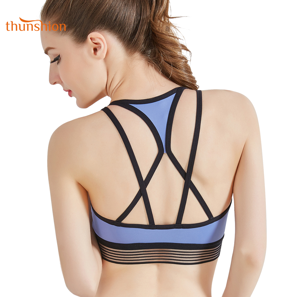 8a699faf8f572 THUNSHION New Sexy Cross Strap Yoga Sports Bra Wireless Removable Padded  Quick Dry Smooth Fabric Elastic Underwire Fitness Bra