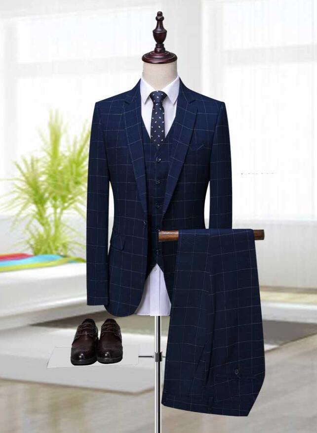 Casual Hommes Parti Only De Vest Marque Business Slim Pantalon 3piece Bleu  Costume 2018 Fit Gilet Costumes Jacket Treillis ... 348cdf6e855