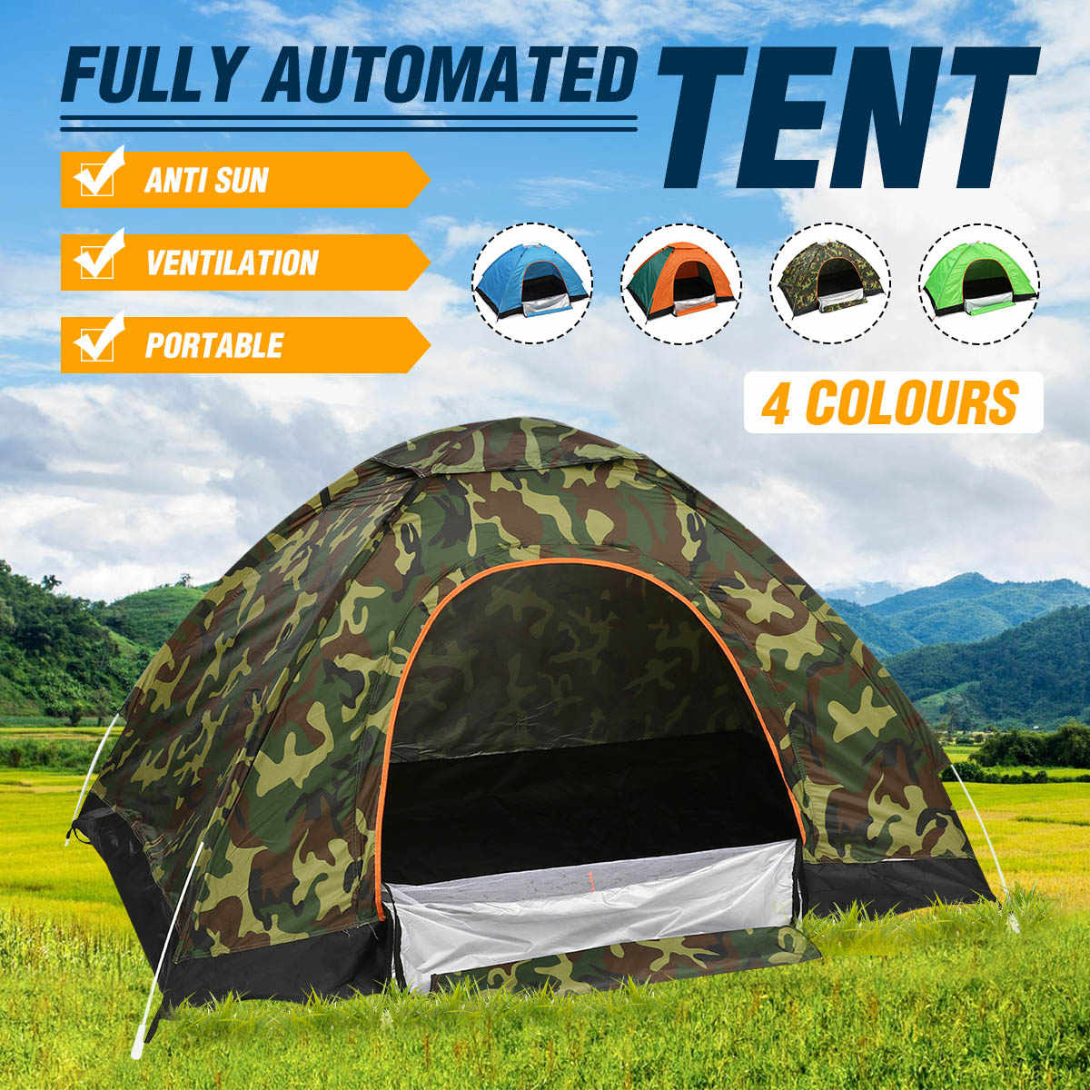 Outdoor Tents Protable Camping Beach Tent Waterproof for Sun Shelter,Travelling,Hiking Large Space / Green / Orange / Camouflage