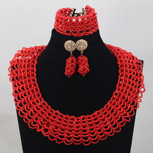 New Chunky Indian Bridal Jewelry Sets Deep Red Brand Jewelry Sets Handmade Weaved Christmas Gift 2017 New Free ShippingABH070 brand new 1996 hallmark barbie large christmas stocking red sateen