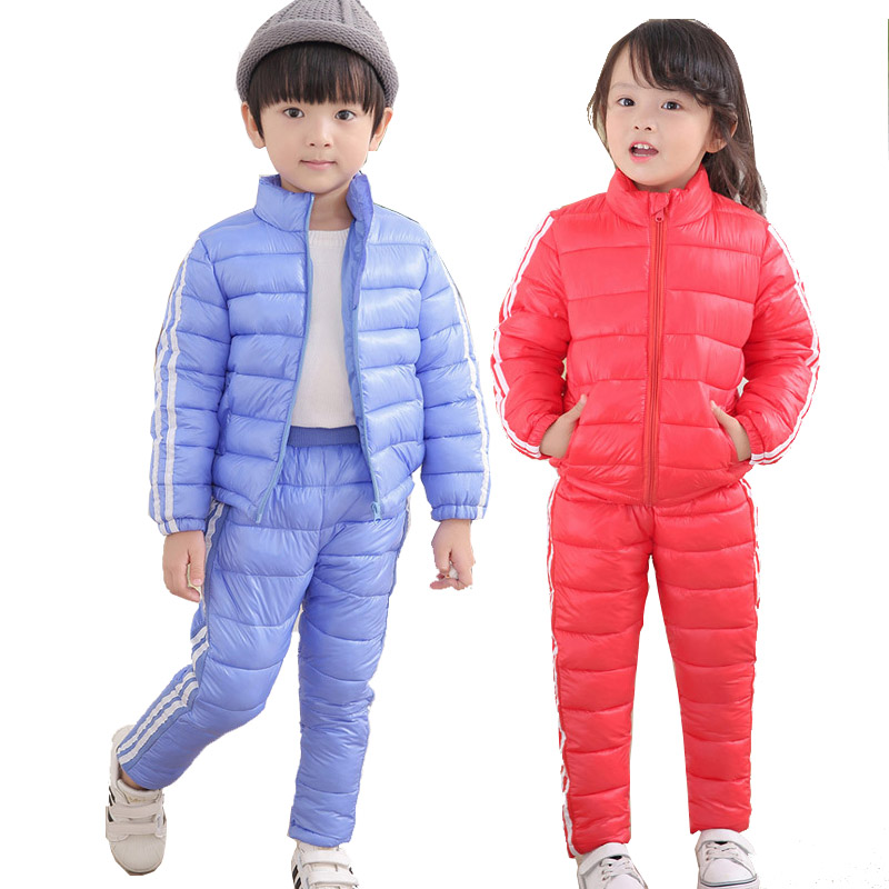 Winter Clothing Set 2 PCs Down Coat+Overalls Boys Ski Suits Warm Windproof Outwear Girls Snowsuits Jackets+scarf Pants 2-5T Kids 2016 winter boys ski suit set children s snowsuit for baby girl snow overalls ntural fur down jackets trousers clothing sets