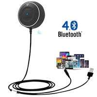 Wired Bluetooth Car Kit Mini AUX Music Play FM Tramsmitter Audio Receiver Adapter Car MP3 Hands free Call Phone USB Charger