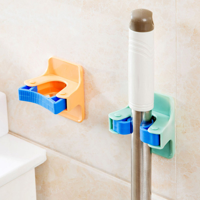 Broom Mop Holder Bathroom Hanger Wall Mounted Self Adhesive Storage Rack  Clip Organizer Garden Tool Home