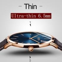 Men S Clock Ultra Thin Watches OLEVS Luxury Brand Waterproof Leather Quartz Wrist Watch Rose Gold
