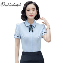 Dushicolorful summer short sleeve shirt office ladies plus size formal work wear white chiffon top and blouse women
