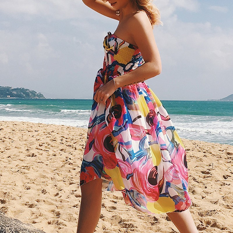 Pareo New Sexy Backless Beach Dress Swimwear Women Chiffon Floral Beach Cover Up Bandages Swimsuit Bathing Suit robe de plage