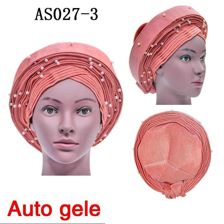 Оптовая продажа Африканский головной убор Свадебные шапки для женщин тюрбан в наличии нигерийский ASO OKE Африканский Авто геле с бусинами Для Praty