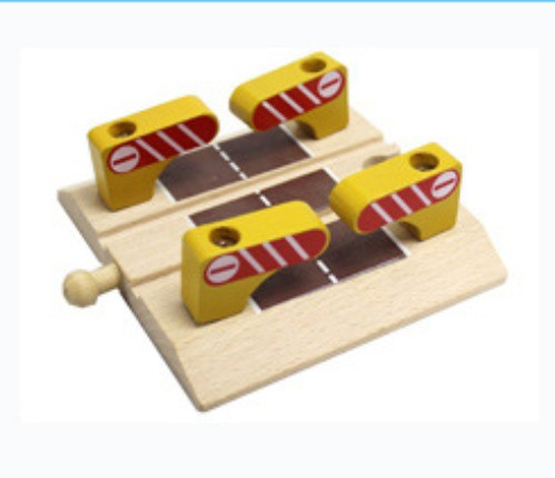 Thomas and Friends --1PCS Thomas Wooden Train Track Railway Accessories --Yellow Wood Railroad Crossing Intersection
