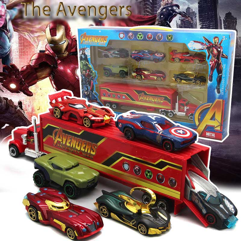 Disney Marvel Toys For Boys Birthday Gift Car Toys Avengers Racing Set Combination Creative Cartoon Alloy Children's Car Toy